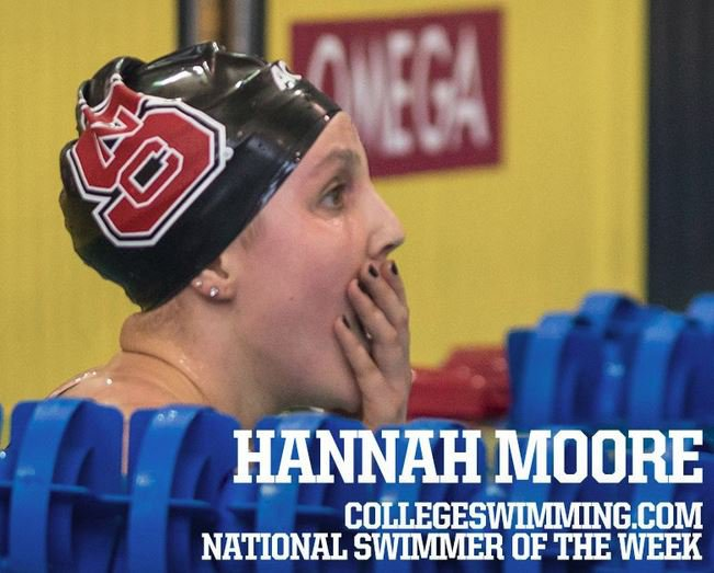 NC State's Moore, Drury's Xu and Calvin's Vanharm Lead Women's Swimmers-of-the-Week