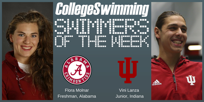 Lanza, Molnar National Swimmers-of-the-Week, Tixler & Ives Make History
