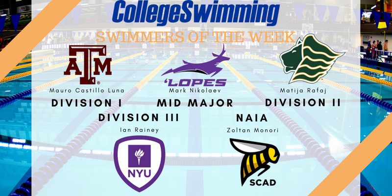 Historic Win Nets A&M National Swimmer-of-the-Week