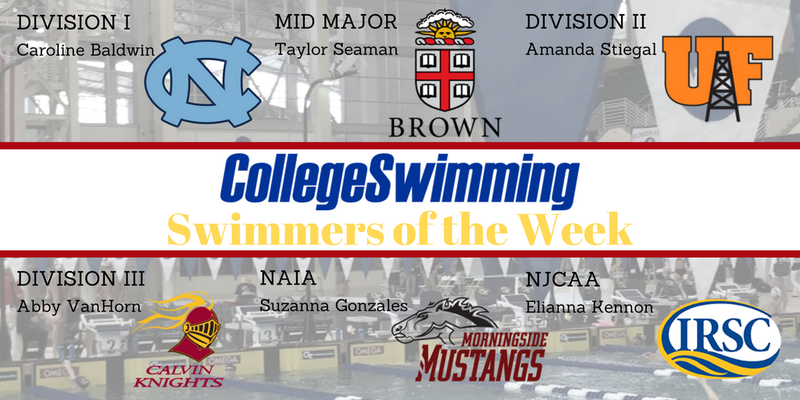 National Swimmers-of-the-Week November 6-12